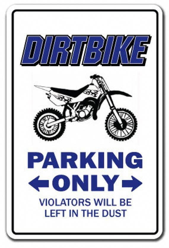 Dirtbike Parking Sign Gag Novelty Gift Funny Bmx Racing Cycle Bike