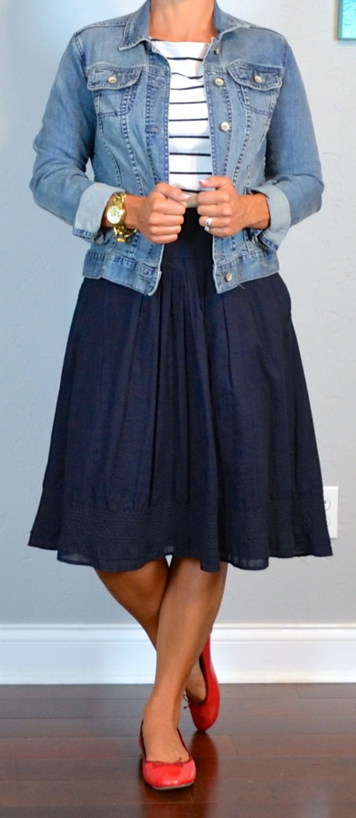 Celeb style inspo -outfit post striped shirt jean jacket navy a-line skirt red ballet flats ...