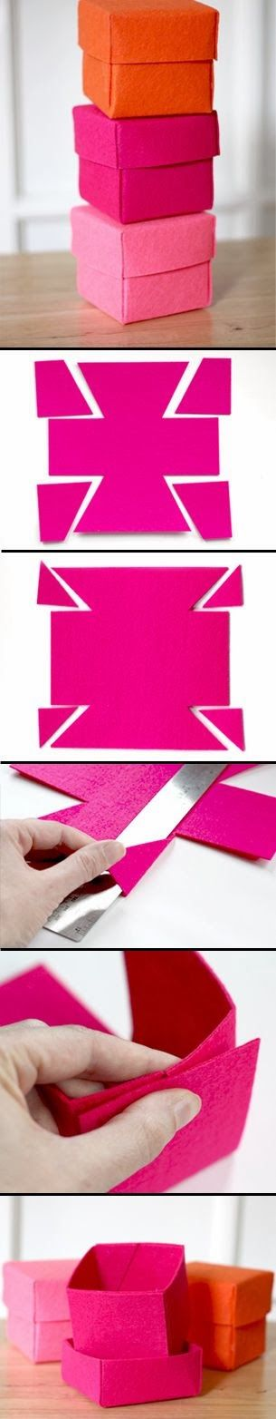 How to Make felt boxes for small gifts Tutorial  Source and photo credit: howaboutorange.blogspot.co...