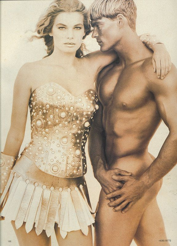whitaker-malem-fashion-herb-ritts-formed-leather-gold-pearl-bustier-slatted-skirt-vogue-magazine | Flickr - Photo Sharing!