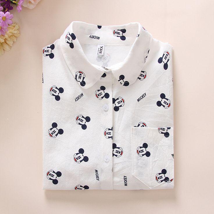 Ladies white Shirt 2016 Spring New Fashion cute Mouse Cartoon Blouse Long Sleeve Women Blouses Womens Tops Blusas Feminine Bluse