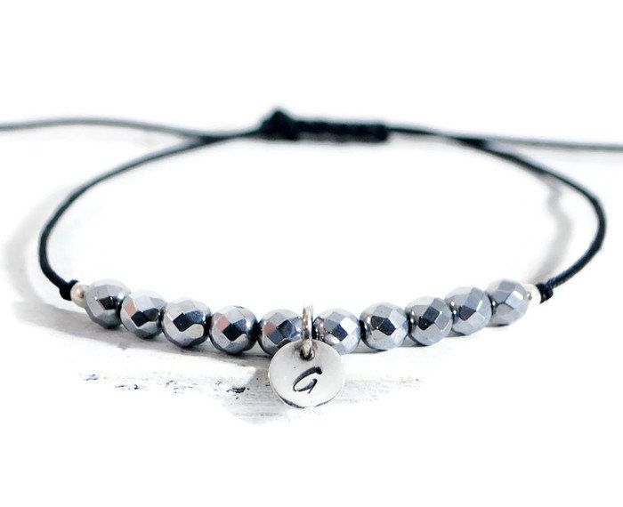 Tiny Sterling Disc Initial Bracelet. Hematite Beads Dainty Bracelet. Minimalist Adjustable Friendship Cord Bracelet. GSminimal Jewelry.