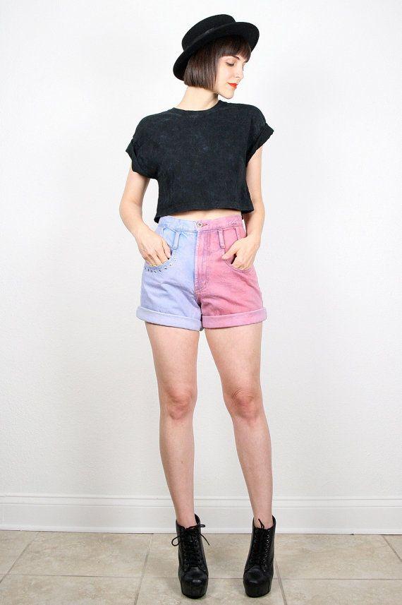 Vintage High Waisted Shorts Denim Shorts Jean Shorts Pink Blue DIY Dip Dyed Star Studded Shorts 1980s 80s Custom Upcycled Shorts M Medium S #vintage #etsy #80s #1980s #custom #dyed #denim #jeans #shorts #highwaisted
