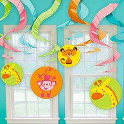 Fisher Price Baby Shower 60cm Hanging Swirls 12pk Fisher Price Baby Shower  Hanging Swirls Feature Happy