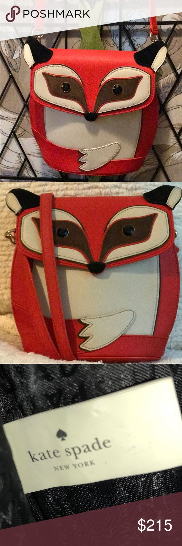Kate Spade Fox Blaze Bag Kate Spade Blaze A Trail Fox Crossbody NWOT  Crosshatched leather with suede trim Capital Kate jacquard lining Gold foil printed Kate Spade New York Signature Crossbody with snap closure Interior slide pocket kate spade Bags Crossbody Bags