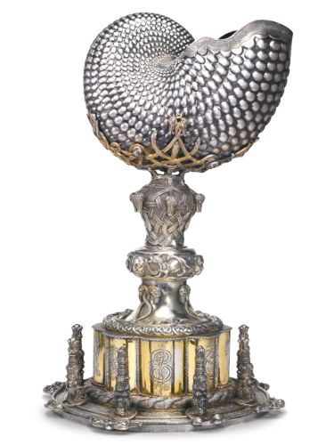 rare Irish parcel-gilt silver Celtic revival large yacht trophy, maker's mark RS probably for Richard Sherwin, Dublin, 1853
