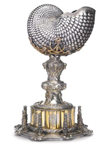 rare Irish parcel-gilt silver Celtic revival large yacht trophy, maker's mark RS probably for Richard Sherwin, Dublin, 1853