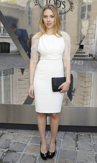 "Scarlett Johansson Chats About the Challenges of Being ""Petite and Curvy"": Scarlett Johansson wore a white Dior dress for the Tod's party in Paris."