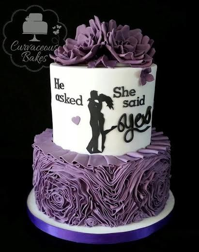 'He Asked, She Said Yes' Purple Engagement Cake