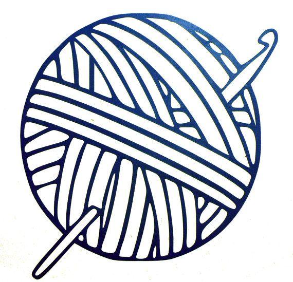 Yarn Ball With CROCHET HOOK vinyl decal