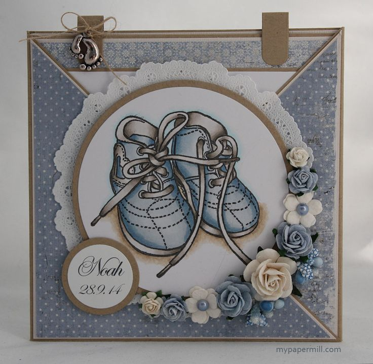 Christening card for a boy. North Star Stamps image colored with Copics. Patterned paper by Maja Design