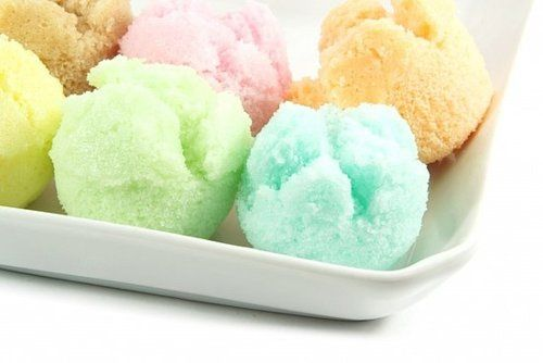 Pastel scoops of ice cream or sherbert