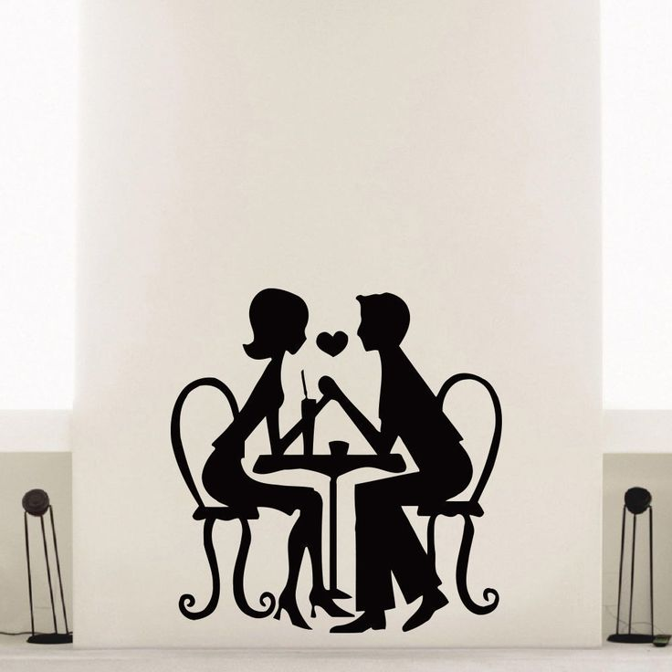 Lunch Cafe Couples in love Wall Art Sticker Decal