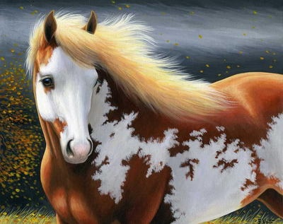 Paint pinto horse autumn storm limited edition aceo print art by Bridget Voth