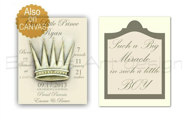 Kids Nursery Prints: Baby Boy Nursery Art Crown Birth Stats and Boys Qu...