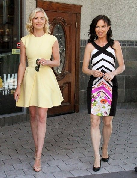 Mary Lynn Rajskub and Yvonne Strahovski at Universal Studios to do an interview for the show EXTRA in Universal City, California on July 8, 2014.
