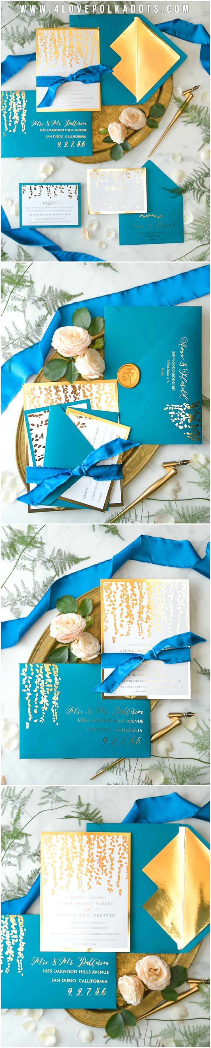 Cyan & Gold Wedding Invitations - shades of blue #weddingideas #cyan #teal #turquoise #elegant #unique #peacockblue #weddinginvitations