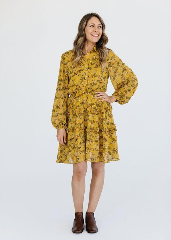 Mustard Come Away With Me Dress