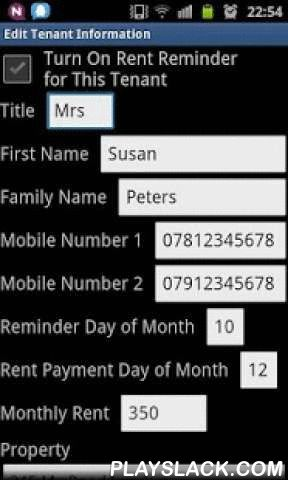 Landlord's Rent Reminder  Android App - playslack.com , Rent Reminder for Landlords is a smart mobile phone application. It can be installed on your Android mobile phone. It is easy to use. I am using it and my tenants pay their rent promptly. It is good for individual landlords and letting agents. This application will record tenant information and send text messages, i.e. Rent Reminder, to your tenant's mobile phone automatically when you set a reminder date. A reminder cycle can be every…