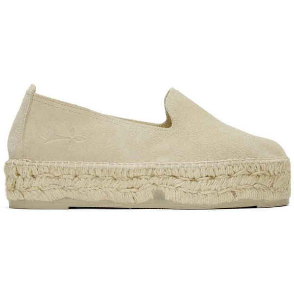 Manebí Beige Suede Hamptons Espadrilles (17065 ALL) ❤ liked on Polyvore featuring shoes, sandals, beige, espadrille sandals, platform espadrilles, stitch shoes, platform sandals and woven sandals