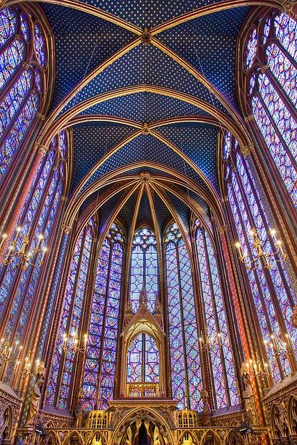 "Saint Chapelle, Paris, France - This Gothic chapel is considered one of the highest achievements of the Rayonnant period. It's most prominent feature is the upper level, which is encompassed by floor-to-ceiling stained glass windows. My Art History I teacher described her experience here as ""being inside of a jewelry box"""