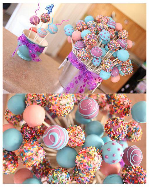 Cake Pops Eimer für einen Geburtstag