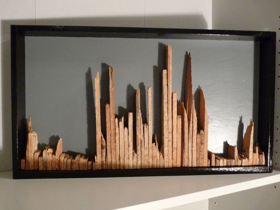 Vintage Wood Lath Skyline Wall Art Caves Satin And