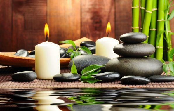 Обои камни, черные, массажные, спа, spa, свечи картинки на рабочий стол, раздел настроения - скачать