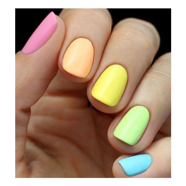 Mani Monday Neon Rainbow Nail Tutorial ❤ liked on Polyvore featuring beauty products, nail care, nail treatments, nails, nail polish, makeup and beauty