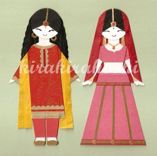 INDIAN GIRL in Lehenga Choli and Salwar Kameez Paper Doll Card Topper (Set of 2)