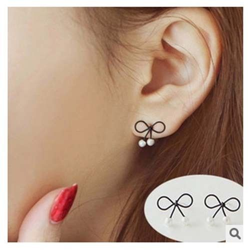 Double Pearl Cute Bowknot Ear Stud Earrings Is Designed To Show Your Charm Now