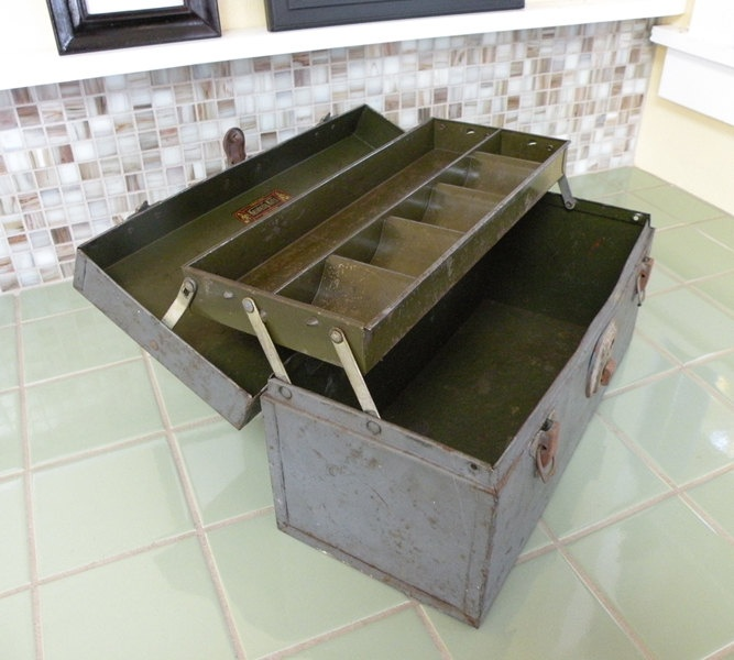 Vintage Steel Gray and Green Tool Tackle Box Storage Container. $20.00, via Etsy.