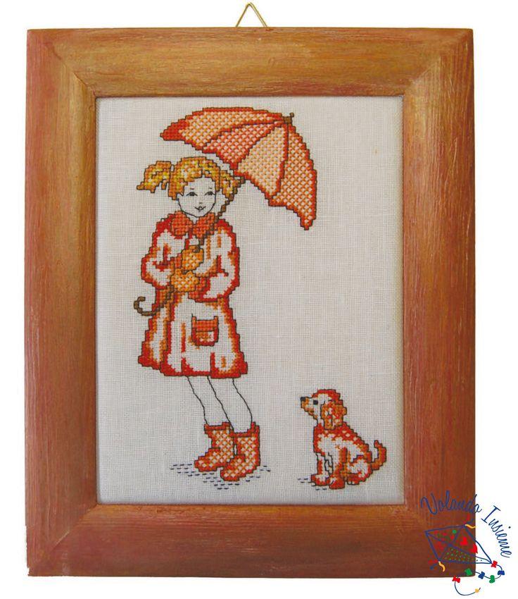 Sotto l'ombrello. Punto croce con cornice http://www.casacenina.it/volando-insieme/sotto-l-ombrello.html