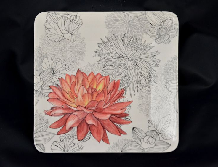 Ceramic Flower Plate by Mirthworkstiles on Etsy