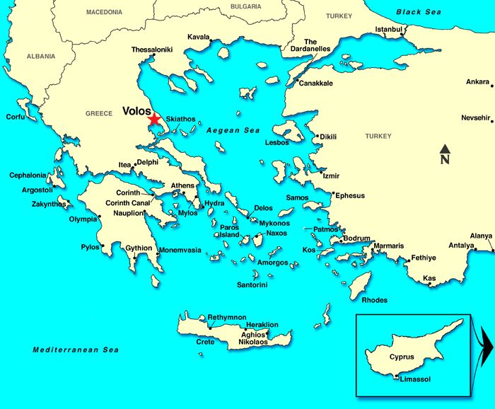 Volos, Greece Map
