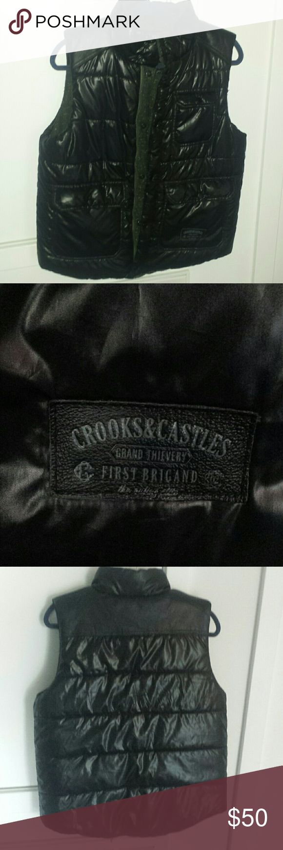 Crooks and Castles Men's Puffer Vest Men's Black non leather puffer vest in very good condition. Also has inside pockets. Crooks and Castles Jackets & Coats Vests