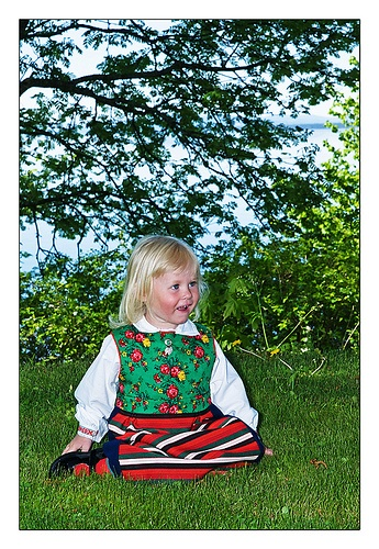 Traditional kid Dressed in the beautiful traditional clothing from the area of Rättvik Sweden