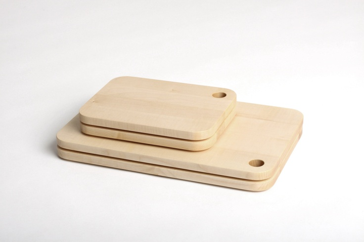 LUGI Cutting Board 01 and 02 made of solid maple, design by Matej Chabera