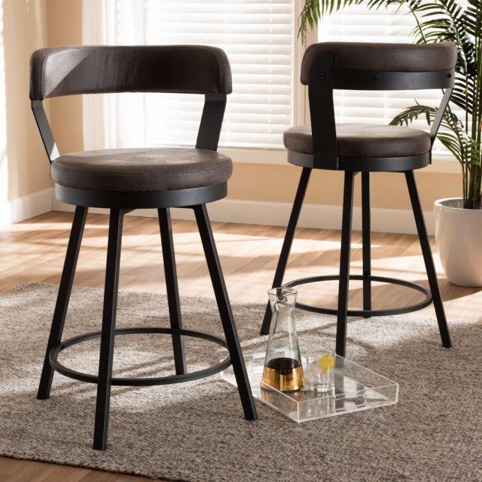 An Amazing Addition To Any Industrial Modern Home Furnishings Arcene Swivel Bar Stools Accentuate A Vib Swivel Bar Stools Bar Stools Leather Swivel Bar Stools