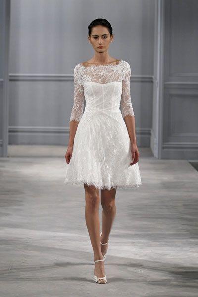 Schöne kurze Hochzeitskleider: Zarte Spitze