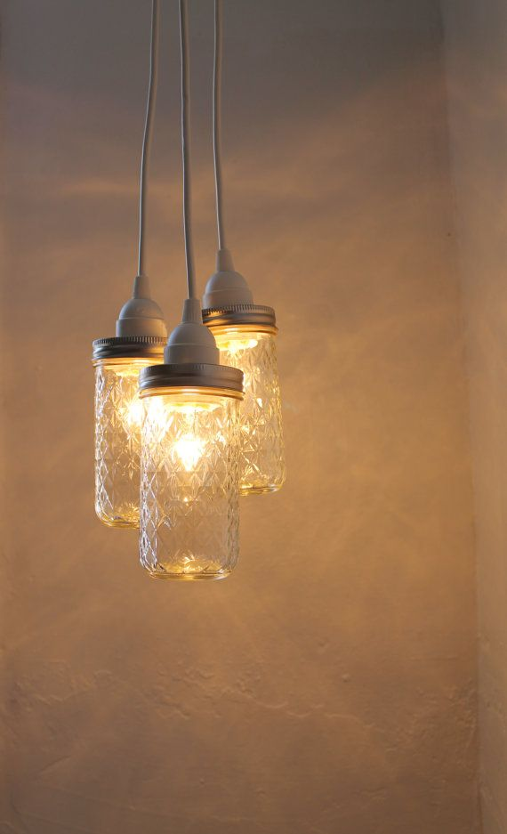 Canning Jar Chandelier - Quilted Diamonds Jelly Jars Hanging Pendant Chandelier Cluster Light - UpCycled BootsNGus Lighting Fixture