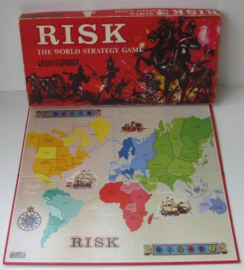 "Risk:  A strategic board game, produced by Parker Brothers (now a division of Hasbro) and originally released in 1957 as La Conquête du Monde (""The Conquest of the World"") in France."