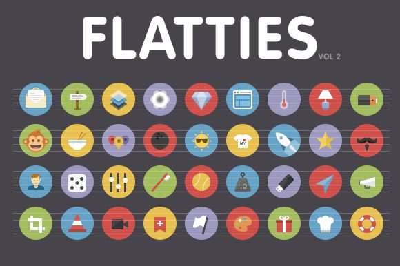 Flatties Vol 2 - flat style icon set ~ Icons on Creative Market