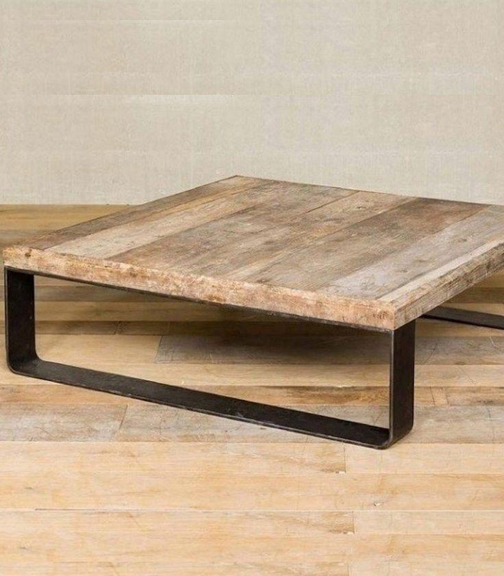 Mesa cuadrada de metal con tapa de madera antigua rustica grande