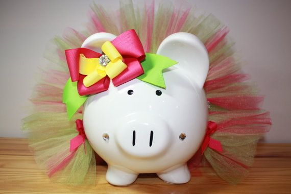 Large Piggy Bank Spring Bling Dressed In Hot Pink by Swoopadaisies, $35.00