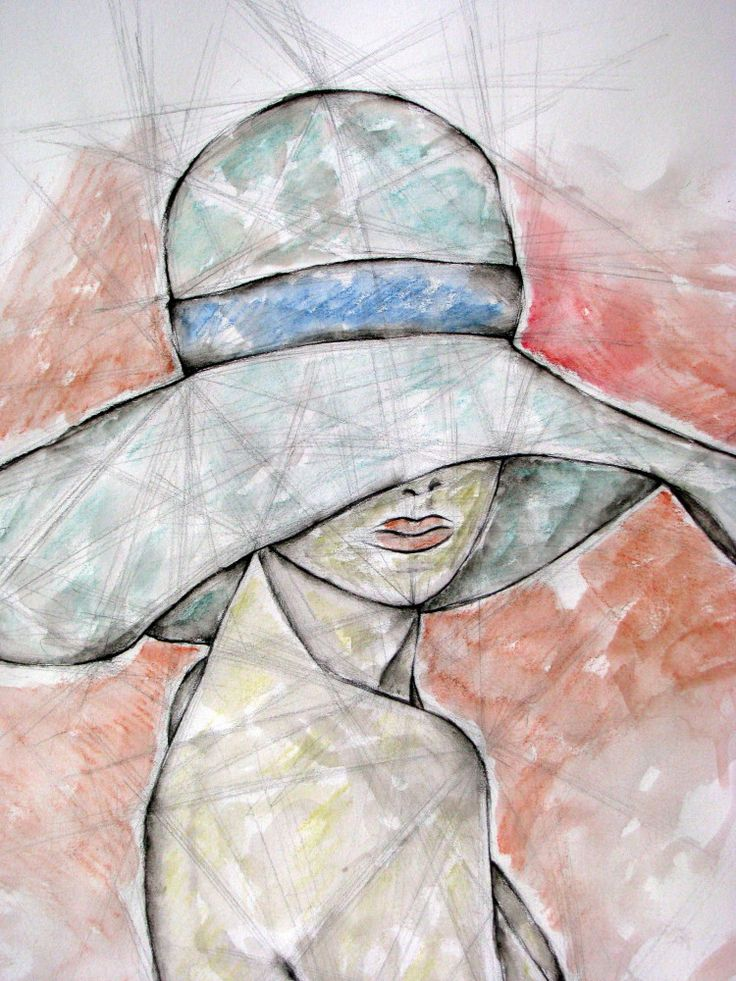 woman with hat by Leyla Özlüoğlu #art #drawing #watercolor #nude #woman #illustration #fashion #style