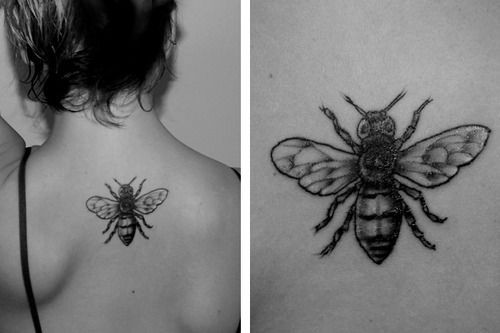 """My honey bee tattoo. This is when it was first done, but I've had it for almost a month now and it's healed up great.  I got it done at Pair'O'Dice in Victoria B.C. by Dustin, and he was great.  Because female honeybees die when they sting someone, it is a reminder that """"stinging"""" others hurts ourselves more than it hurts them."""