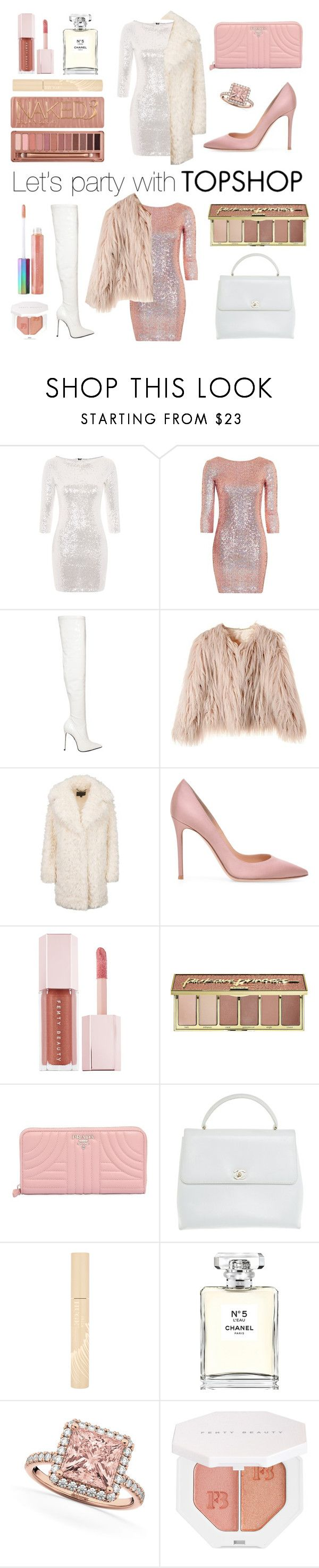 """""""#PolyPresents: Party Dresses"""" by trombone ❤ liked on Polyvore featuring Glamorous, Topshop, Le Silla, Puma, tarte, Urban Decay, Prada, Chanel, Stila and Allurez"""