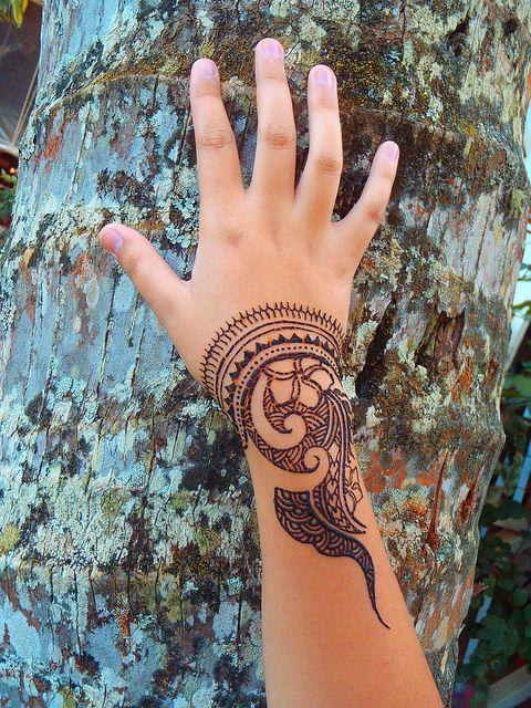 henna hand resting on bark photo idea - Almost henna season!  Polynesian style henna by Henna Kauai, via Flickr