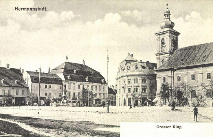 Nagyszeben:Nagy tér a katolikus templommal és a Brukenthal palota,1906.